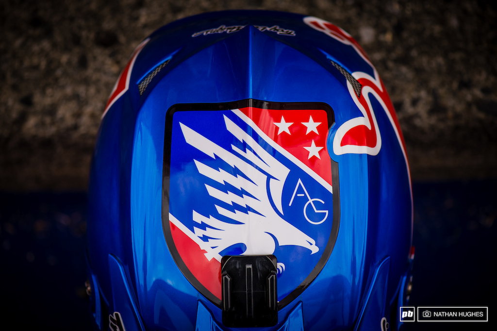The Troy Lee AG eagle adorning the top of Aaron s Red Bull D3.