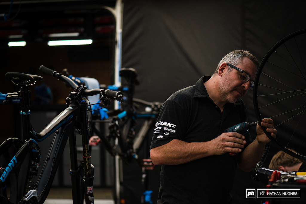 Dave Garland on a wheel building mission at the Giant pit. Guillaume Cauvin is on impressive form riding for his new team in French terrain.