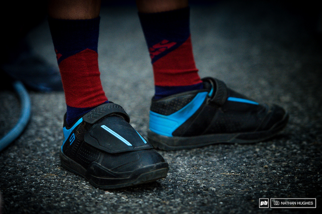 The new Shimano SPD shoe modeled from afar by Rachel Atherton.