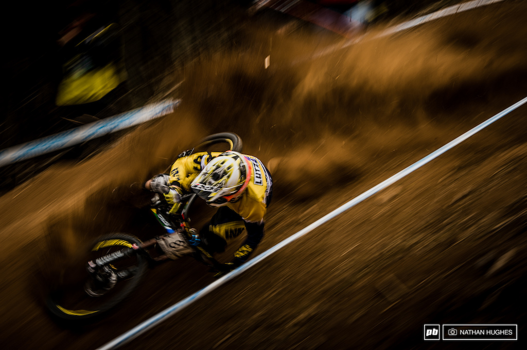 Lutz Weber riding a touch of motocross after the death-chute section. nathhughesphoto