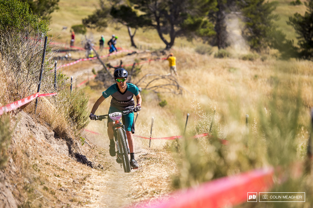 Kelli Emmett on one of the many punchy climbs that characterize the Sea Otter s Enduro course.