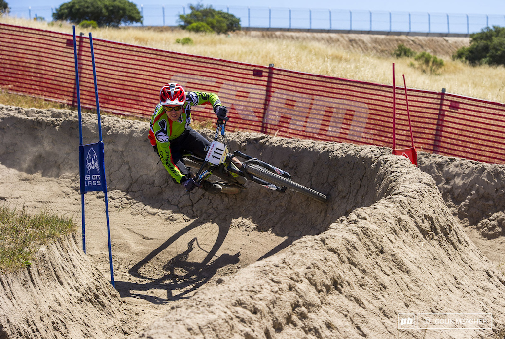 Mr Enduro Jerome Clementz crusiing the 20 second final stage of the day--the Sea Otter Dual Slalom track.
