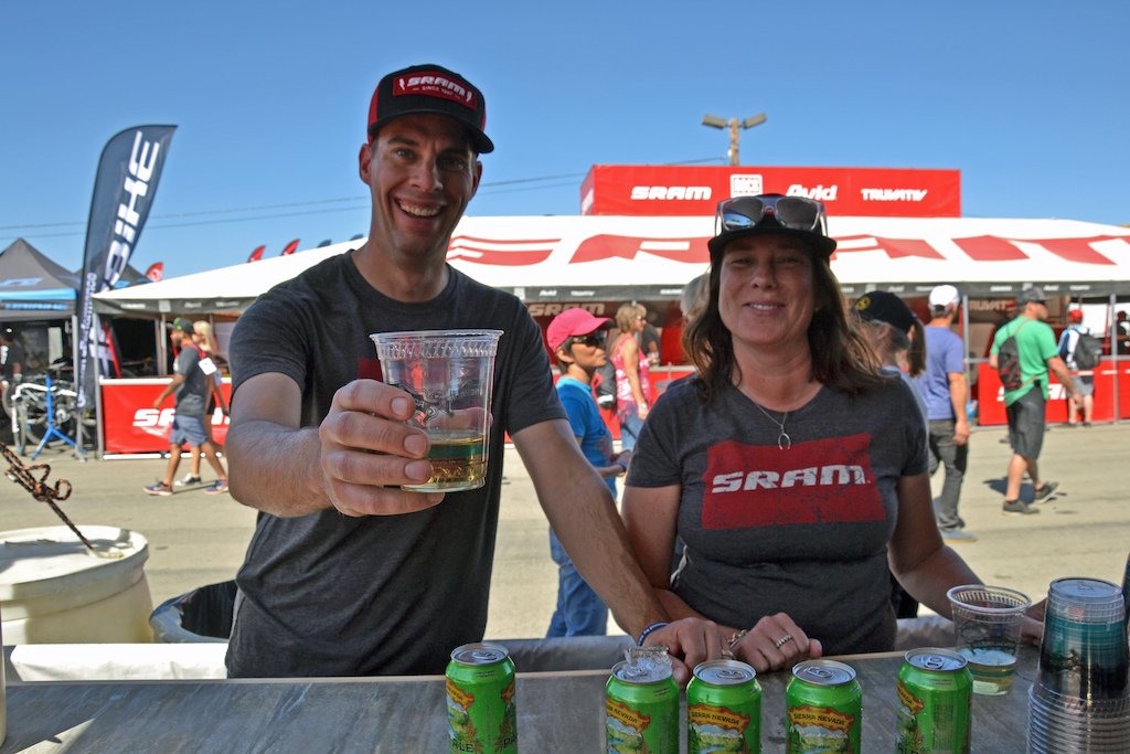 James and SRAM s MTB Marketing Director Elayna Caldwell were on bar-tending duties at the ladies lounge. It looks like they were having fun.