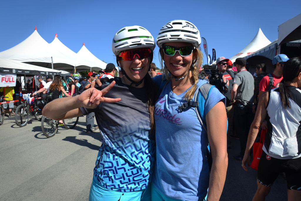 Katie Holden and Lindsey Vories were hanging out at the SRAM ladies lounge after wrapping up another day of skills coaching with the GoldRUSH tour.
