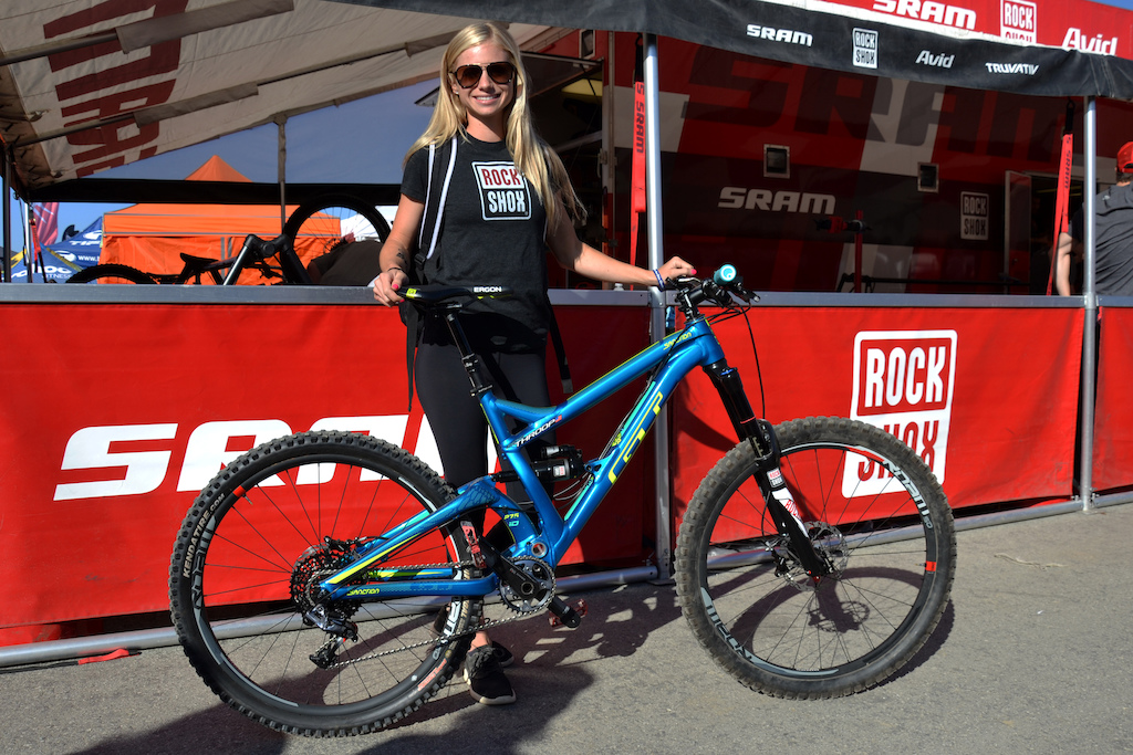The two Rachel s of GT got their own colorway for their GT bikes this year. Here s Rachel Throop with her GT Sanction.