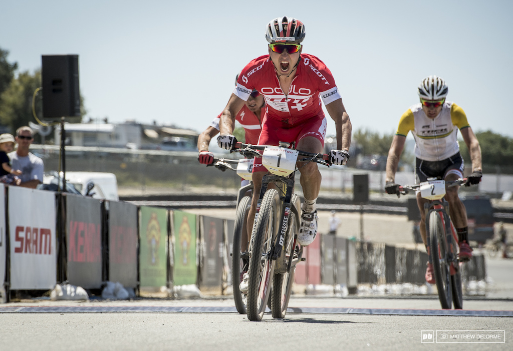 Schurter powering to the finish.