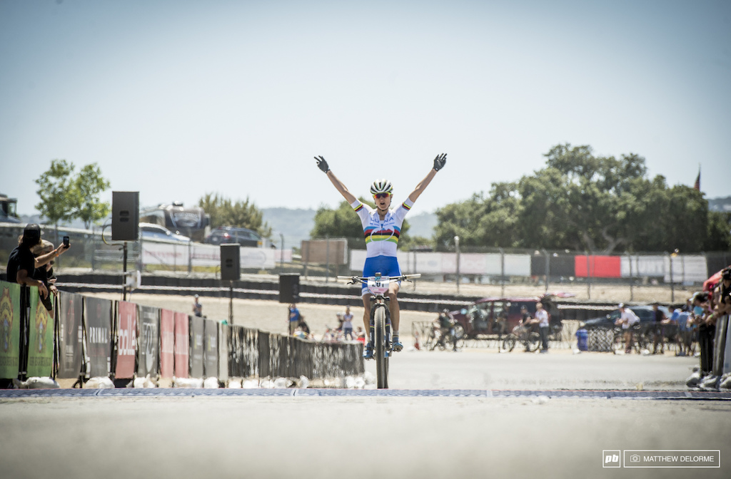 Catherine Pendrel had yet to win here at Sea Otter. Today she changed all of that edging out Bec Henderson for the win