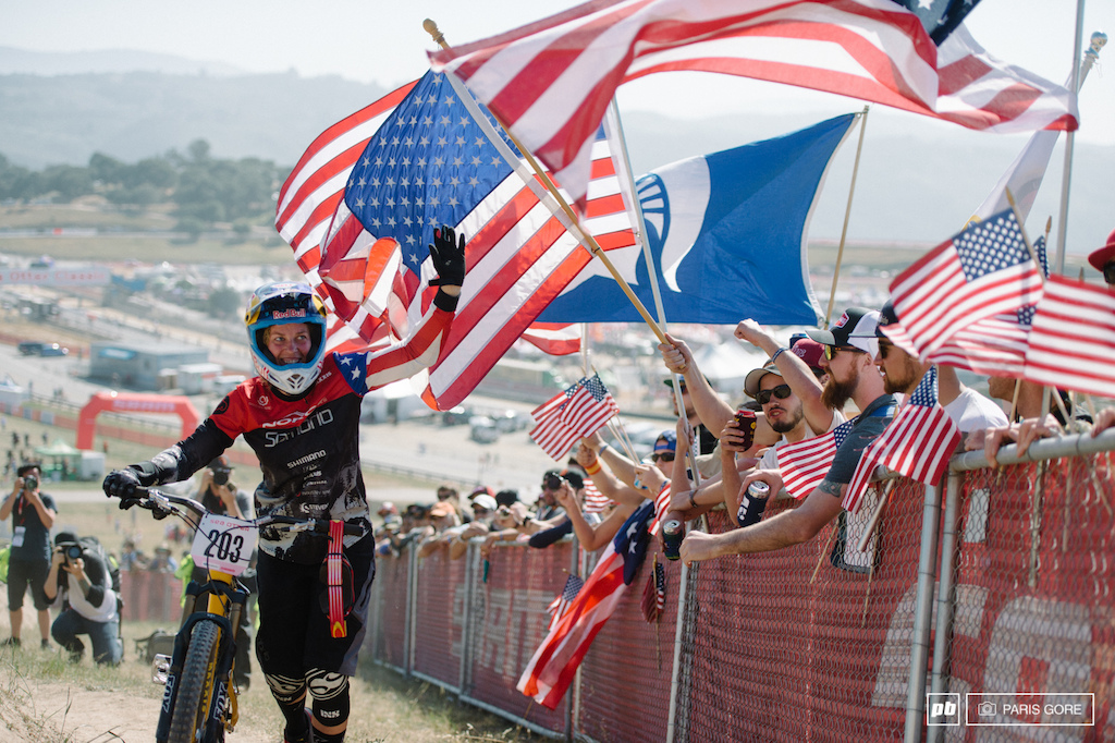 Jill Kintner getting showered in stars and stripes showing her America pride.