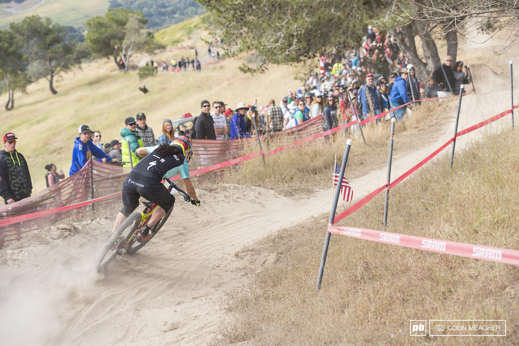 Anneke Beerten was picked as the biggest threat to Kintner for the win here at the Sea Otter and she almost pulled it off coming home only a second and a bit back.