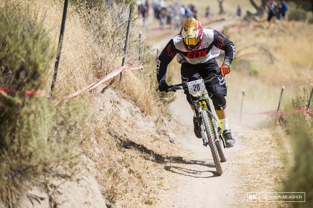 Kyle Strait going full gas but ten seconds back beind Gwin means no chance at all of a podium for the one time World Cup DH racer two time Redbull Rampage winner.