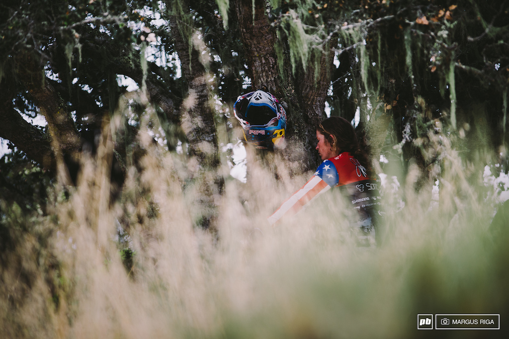 Jill Kintner preparing for yet another victory at Sea Otter.
