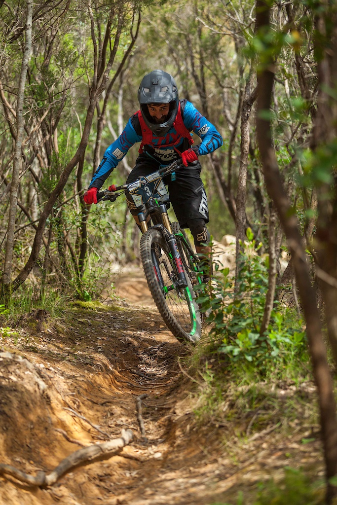 Robert Williams from Great Britain races down the stage 2 during the first stop of the European Enduro Series in Punta Ala, Italy, on April 26, 2015. Free image for editorial usage only: Photo by Antonio Lopez Ordonez