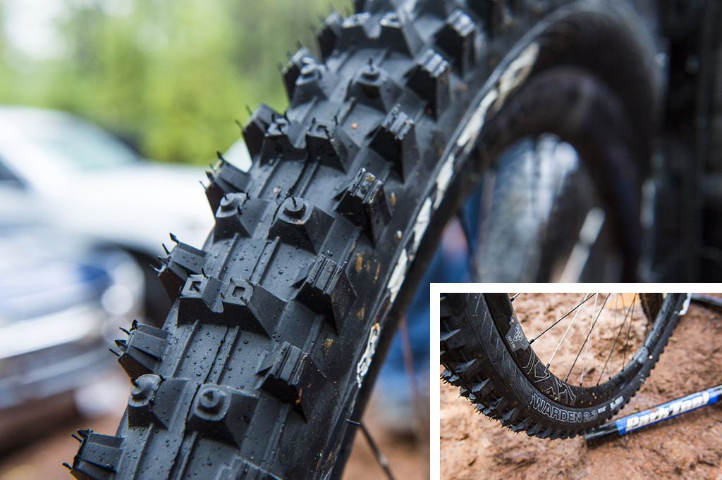 Not a tire that WTB is well known for but the conditions on day 1 saw Jason Moeschler busting out the WTB Warden a spike tire to compete with the best of them.