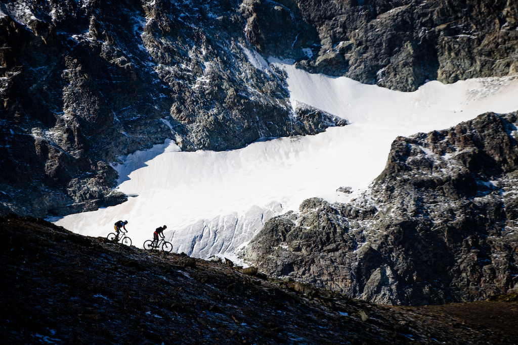 Yohann and Tobi making their way down from Piz Nair. This trail is surrounded from epic views, from top to bottom