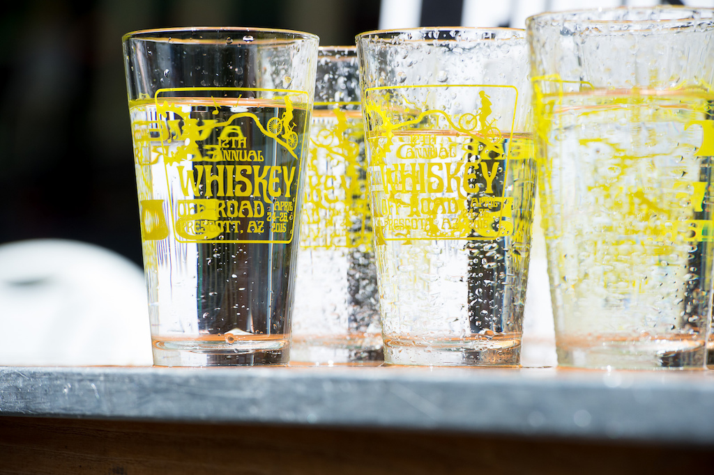 Whiskey Off-Road Pint glasses for all finishers. They initially came full of water..