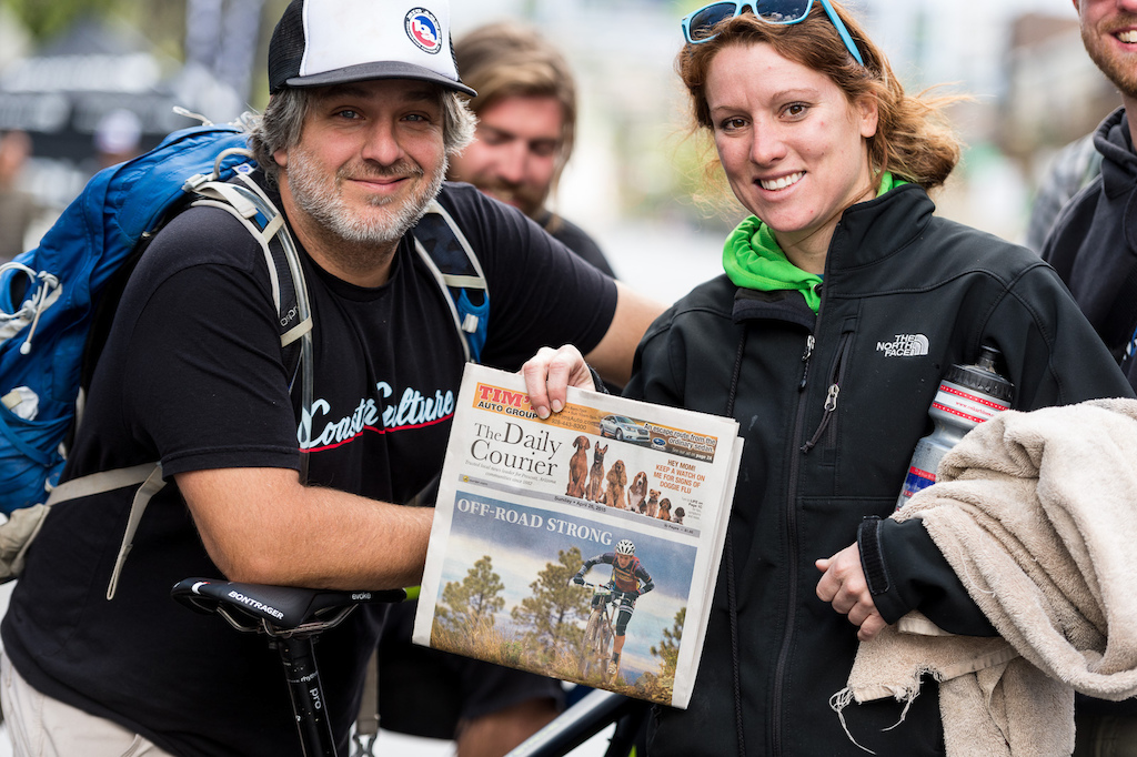 Sara Sheets third place in Saturday s women s single speed event and winning a spot on the cover of the local newspaper.