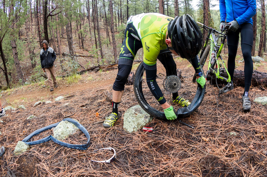 Flat tires were definitely a factor in the race for some riders.