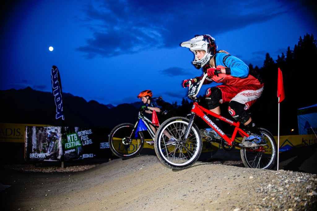 Paula Zibasa of Latvia and Anna Newkirk of USA have much fun at the Rookies Pumptrack Challenge during the Kona MTB Festival Serfaus-Fiss-Ladis.ROOKIES in Tyrol, Austria, on August 8, 2014.Free image for editorial usage only: Photo by Felix Schüller