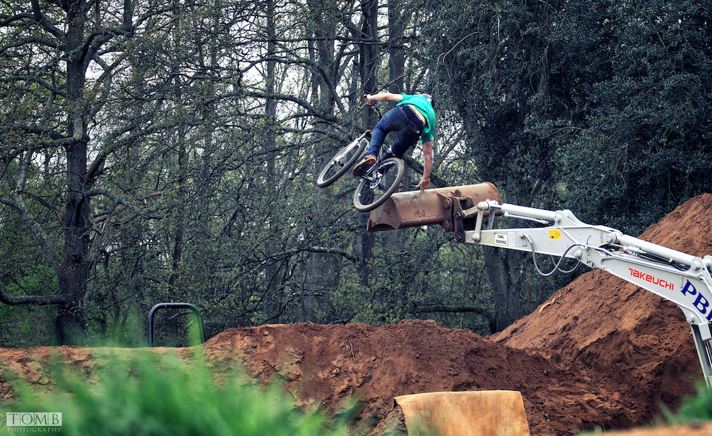 More from the digger session. Sam Reynolds with a handplant on the bucket