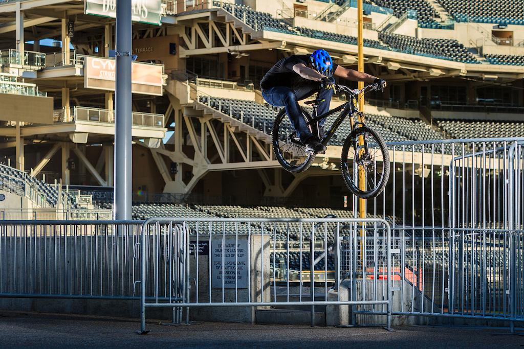 Rail hop at San Diego Padres Stadium.