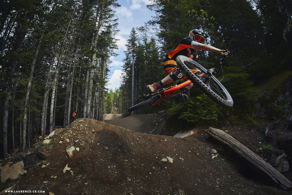 DirtMerchant in the WhistlerMountainBikePark providing the perfect playground for shape maker Ollie Jones to pull some moves on his diamondbackbikes raceface - Laurence CE www.laurence-ce.com
