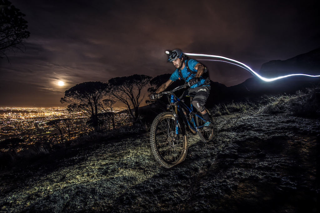 Ocean of lights night ride above Cape Town