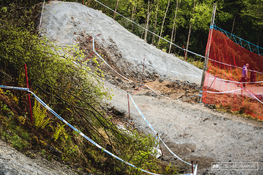 The corkscrew below the road gap has been changed just a bit this year to resemble more of a wallride then a berm.