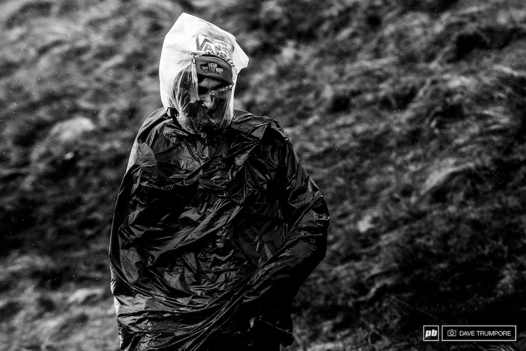 It was a trash bag kind of day today in Fort William. Heavy rain cold temps and stinging wind meant a lot of spectators and media were caught out from not being prepared.