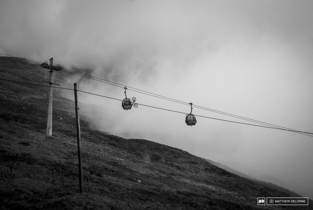 High winds drove the rain sideways today but they weren t strong enough to shut down the lift.