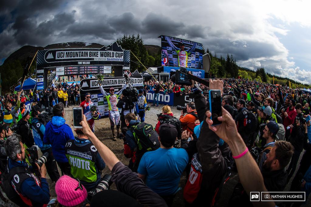 Greg Minnaar standing out in the crowd.