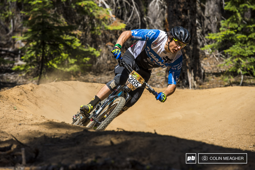 Adam Craig Bend local and one of Giant s EWS racing squad was also going full gas on stage 3 s swoopy berms.