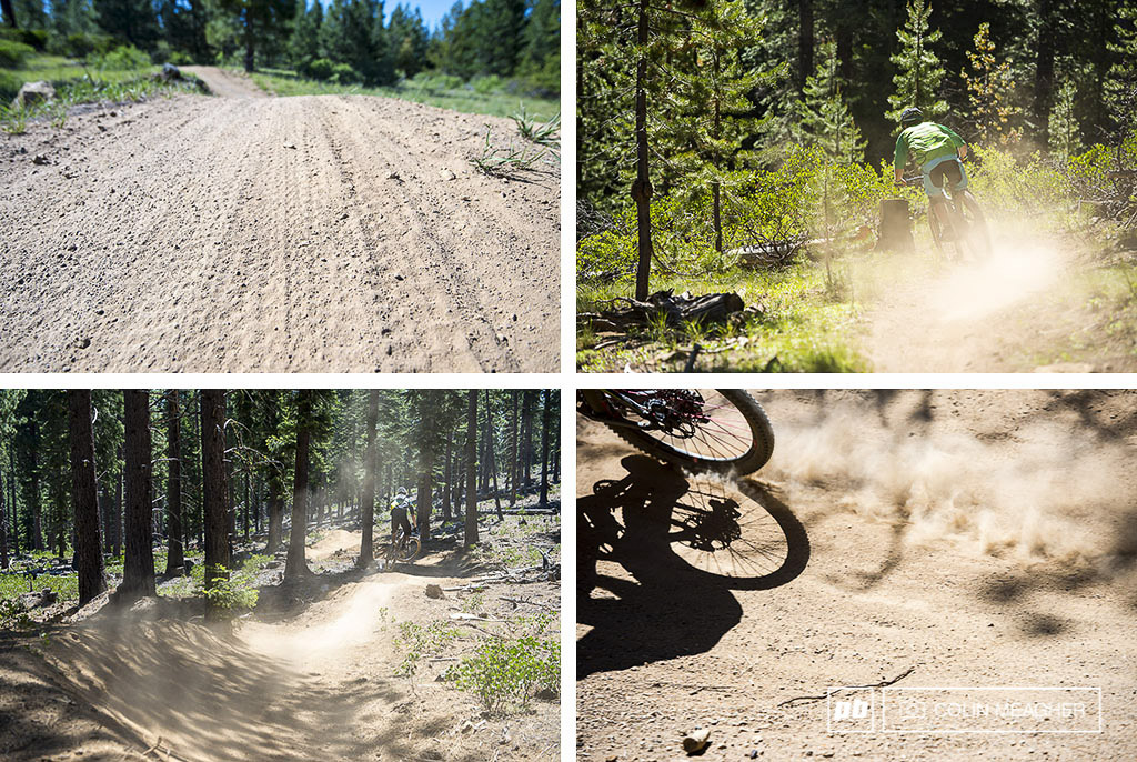 Despite heavy rain the week before Bend OR sits on the edge of the Oregon desert meaning that the trails dry out shockingly fast. more than one rider slapped from sliding out on the loose powder and kitty litter in the corners.