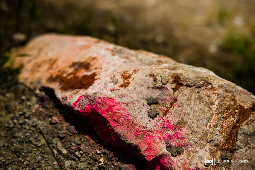 A pink knife-edged boulder to wake racers up from their daydreams.