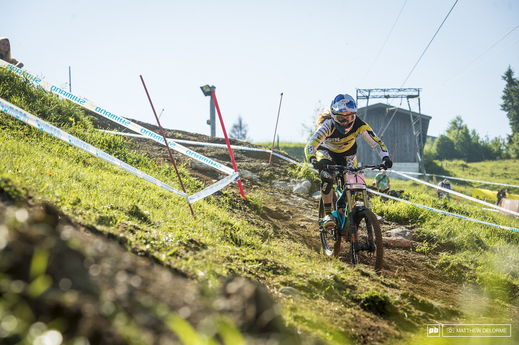 Rachel was handling all of the track here in Leogang with no problem. She was fastest in timed training.