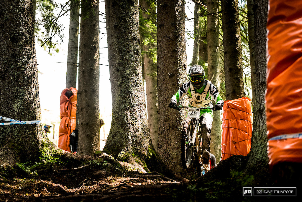Into the woods we go. Gone is the moss and loam from track walk and in its place we now have massive ruts and hundreds of slick roots.