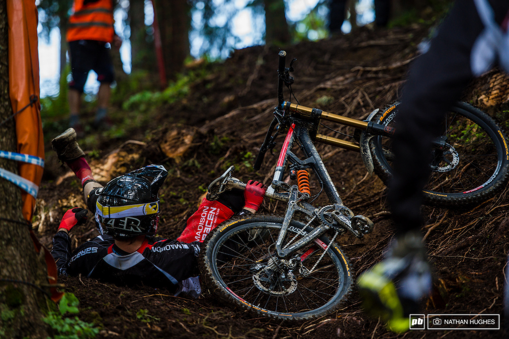 Matt Simmonds reclines and contemplates whether he prefers his slick roots on or off-camber.