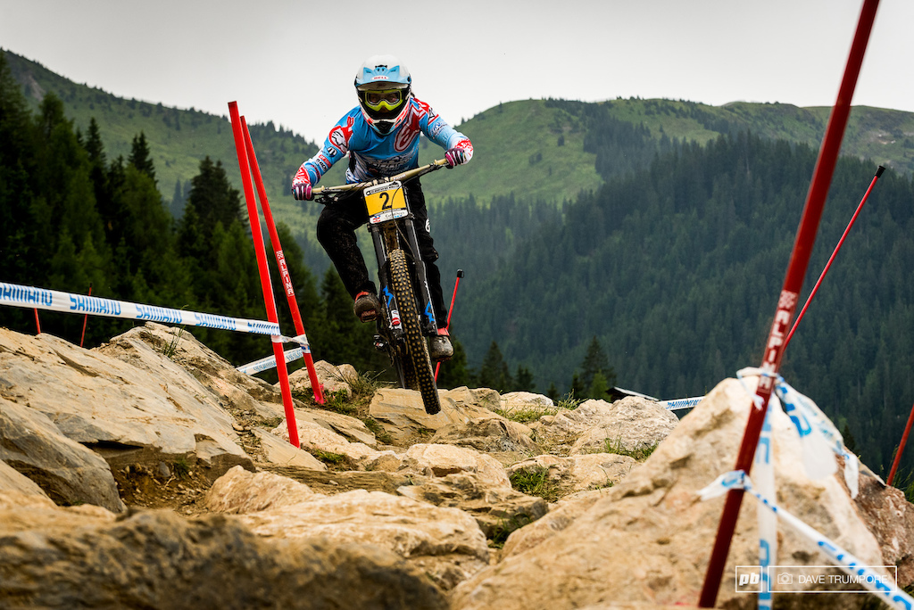 Emmeline Ragot is 5 seconds of Rachel Atherton and will need to push hard if she wants to take the win on Sunday.