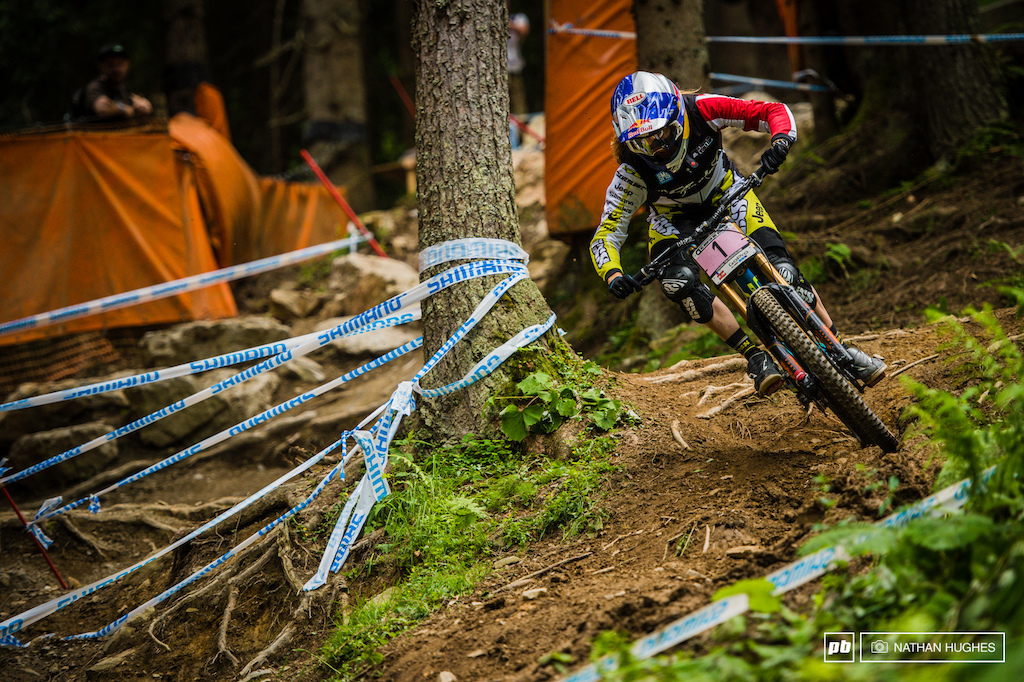 Atherton sets the pace once again this time by over 5 seconds. Of course the woods make Leogang far from a done-deal for Rachel and it s all still to play for.