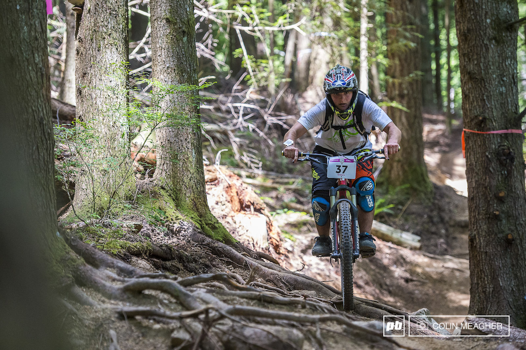 Luckily for the expert and pro racers who got to sample stage four the new descending trail at Tiger Mountain it was dry as there were multiple off-camber root lines that would have been down right nasty in the wet.