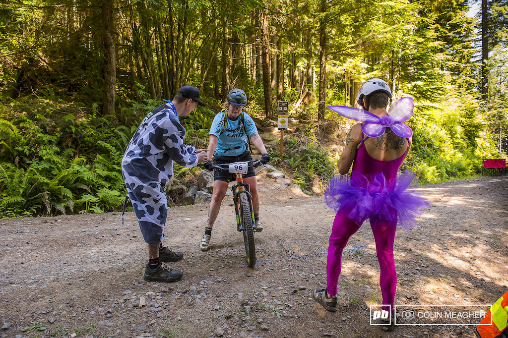 Racers were greeted by a cow and a fairy at the end of the Off The Grid Trail stage 2 . Now that s how you enduro