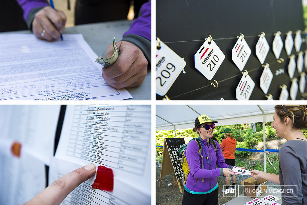 The pre race ritual waiver signing get your number find the timing chip and then grab your race plate. Jaimie Didier getting ready to rock.