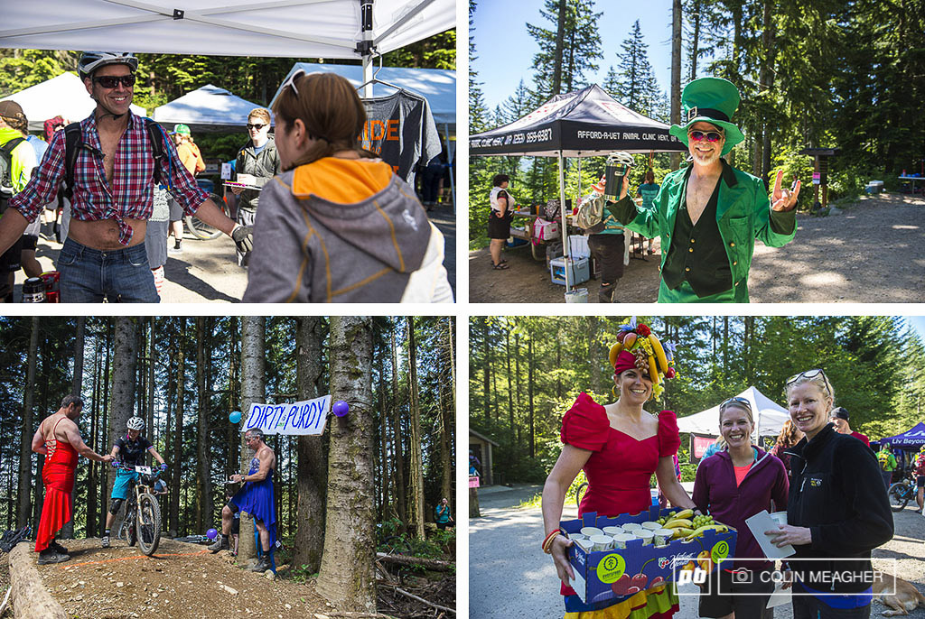 Course volunteers were dressed in all sorts of costumes during the Sturdy Dirty from Daisy Dukes to the happy leprechaun to prom dresses to Chiquita Banana. It s all about having fun while supporting the racers.