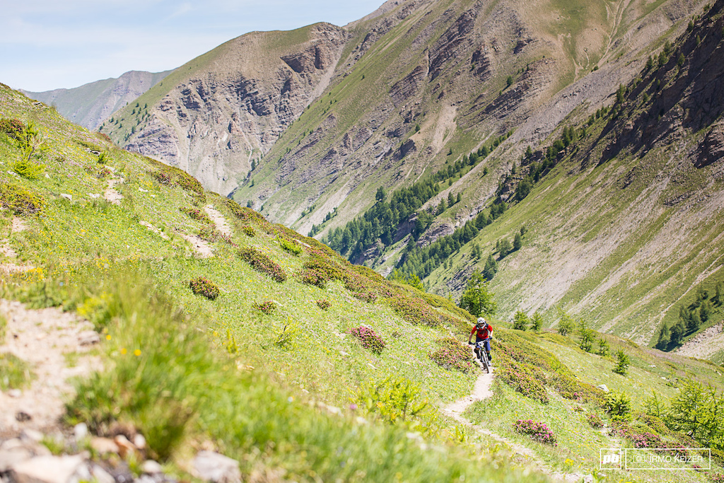 A smooth singletrail in a remote valley in France. Life s good.