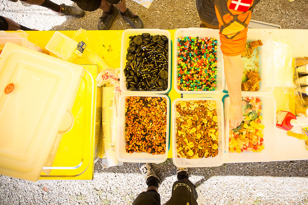 The feeding station. Incredible amounts of food are conserved by participants each day.
