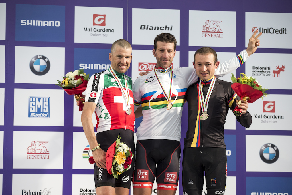 The fastest long distance mountain bikers in the world Alban Lakata Christopf Sauser and Leonardo Paez.