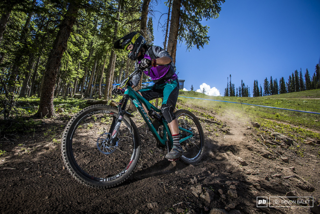 Day one proved to be a good day for Kelli Emmett racing for Juliana Bikes.
