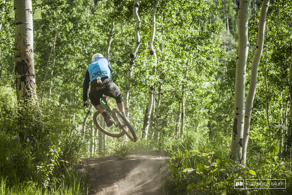 Roaring Fork Valley local Roy Benge squashes another jump on Valhalla to keep the speed up.