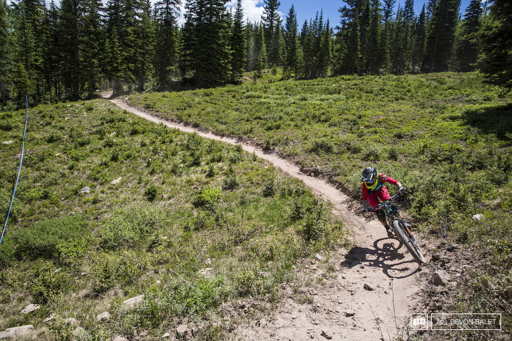 Stage four sent racers off of the top of Snowmass Mountain on the Vapor Trail. Sarah Rawley bangs through one of the countless turns on the course.