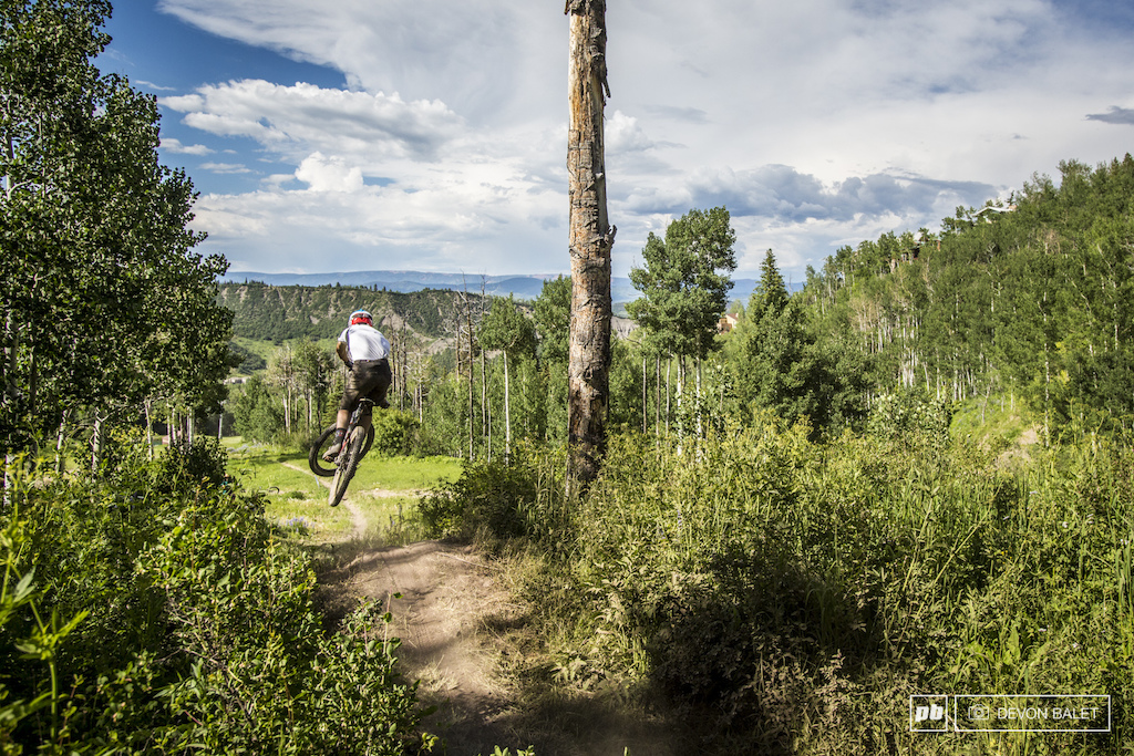 Noah Sears with MRP takes flight on the last feature of the Bonsai DH course.