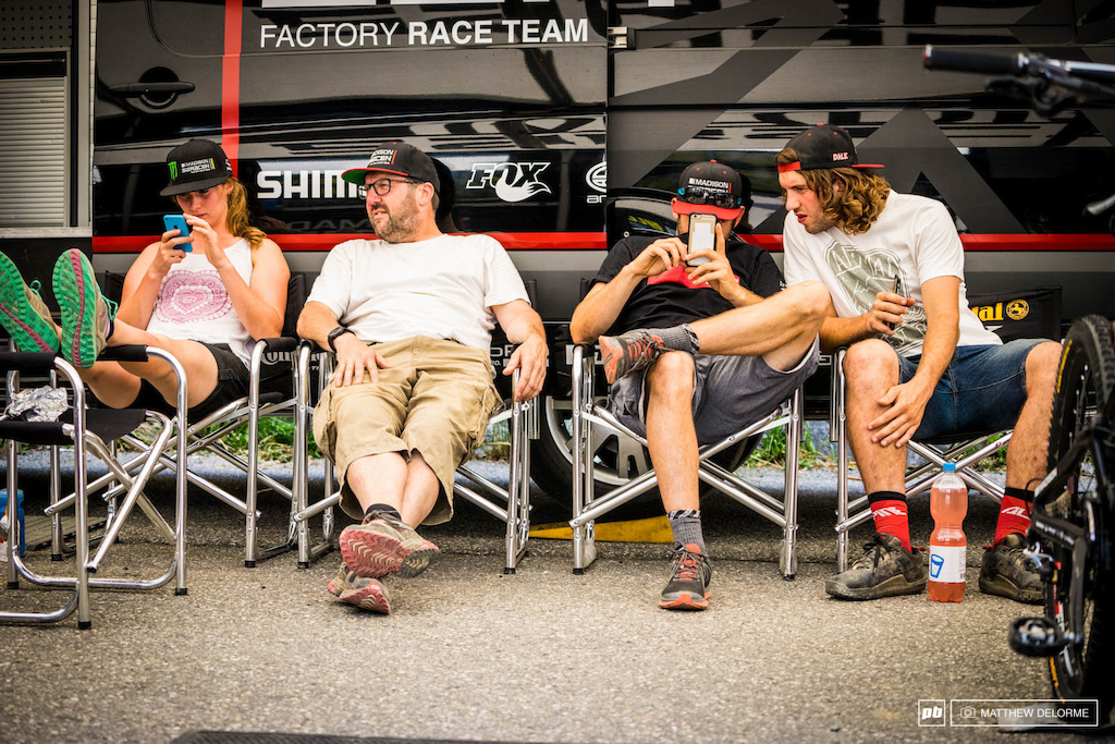 A little post-race run social media before heading up for a track walk in the Madison camp.